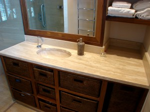 Angora Vein Cut Travertine Vanity top with undermounted Oval Wash Basin