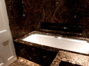 Dark Emrpredor Marble Bath Surround Kensington Mansions, London