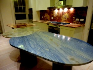 InterlockingTables SebanneBelterRussoOnyx; Verde Antioch Onyx and Azul Macaubas As KitchenTop