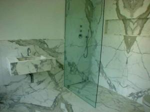 Kensington Town House Bathrooms in Calacata Book match