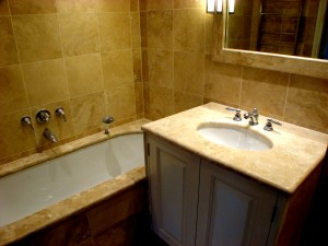 Levant Travertine Vanity Top; Levant Travertine Bath Surround