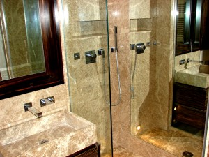 Light empredor Marble Wash basin and ShowerTray - Bespoke, Wall slabs Mayfair apartments