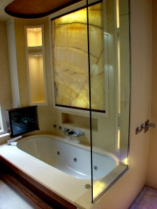 Myra BathSurround & complementing back--lit Onyx Panel - Mayfair House