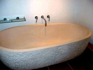 Myra White Limestone Hand carved Bathtube.  Installed - Town house, Black Heath Village,London