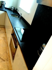 Steel Grey Leather kitchen top - Chelsea Town House