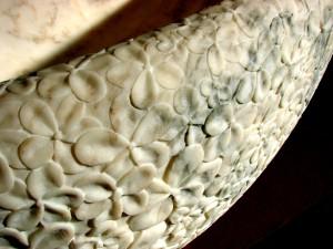Textured Exteriors Milasse White Marble Stone Bath