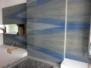 Azul Macabyas Bathroiom walls book match- Bloomsbury Square Town House Project