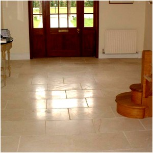 Godalming, Guildford, Sussex, England, Farm House Complex - Entrance Hall Midas-Kreata Beige Marble Antiquated Floor Tiles