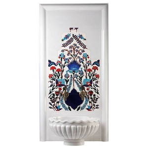 Iznik Ceramic Wall  Feature with Fluted Kurna