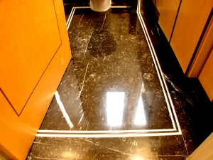 Private House in Hampstead_ Intricately designed and manufactured Nero Marquina Bathroom Floor with fine white ribbon Hampstead.