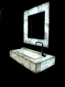 SemiPrecious Stone Vanity Top and Mirror Frame