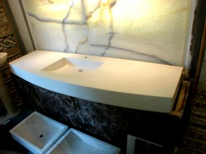 Showroom Displays Hand Carved Myra Integrated Vanity Top _ Back-lit Sebbane Belter Onyx Wall Feature
