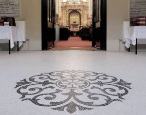 West Hampstead Synagogue Entrance Hall. Hand Cut Mosaic Floor - The Centre Piece