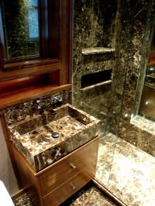Maroon Empredor Washbasin and Shower Tray bespoke, Shower wall slabs