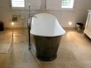 period bathroom in Angora Rustic Travertine Tooting